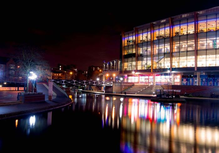 Reflection Illuminated Night City Sky No People Cityscape Outdoors Building Exterior Architecture Water Canal Birmingham UK Nightphotography Water Reflections Pubs Urban Landscape Night Out On The Town