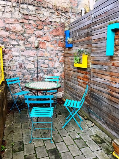💙 Architecture Built Structure Brick Wall Door Building Exterior Wood - Material No People Chair Outdoors House