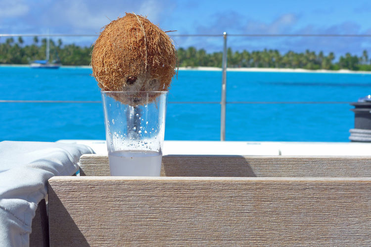 Close-up of coconut water