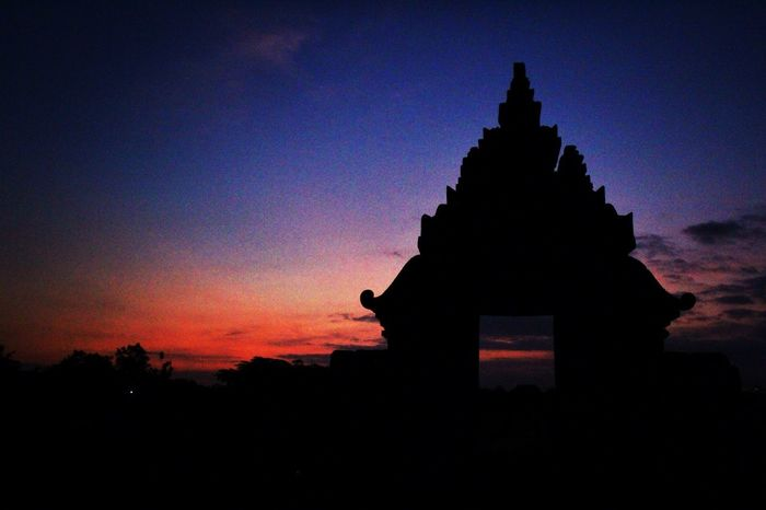 sunset silhouette Temple Sunset Silhouette Candi Plaosan