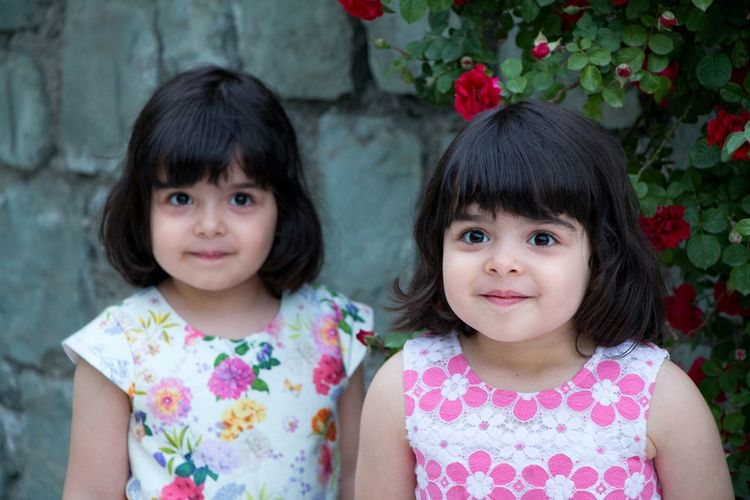 Looking At Camera Child Portrait Girls Children Only Two People Childhood Friendship Sibling Cute Smiling Togetherness People Females Sitting Flower Happiness Outdoors Real People Bonding Iran Poletabiat EyeEmNewHere
