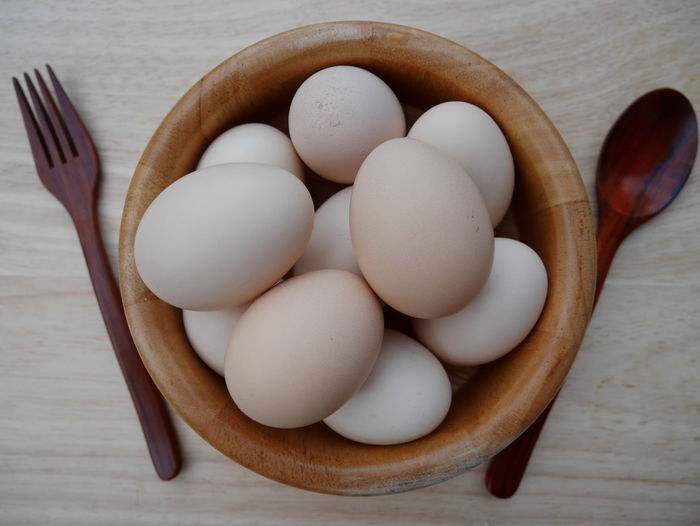 Eggs in wooden box whit spoon and fork Box Eating Wood Close-up Day Directly Above Eat Egg Eggs Food Food And Drink Freshness Healthy Eating Healthy Food High Protein Indoors  No People Spoon And Fork Table Tablecloth Wood - Material Wooden Wooden Spoon