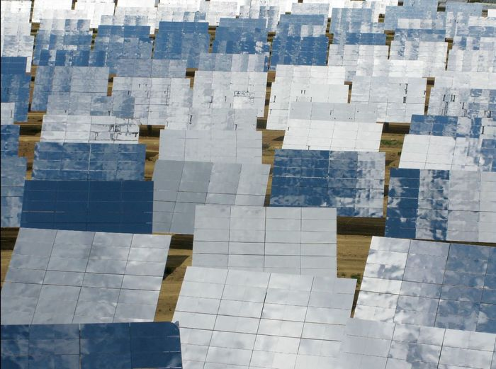 Full frame shot of solar panels on field