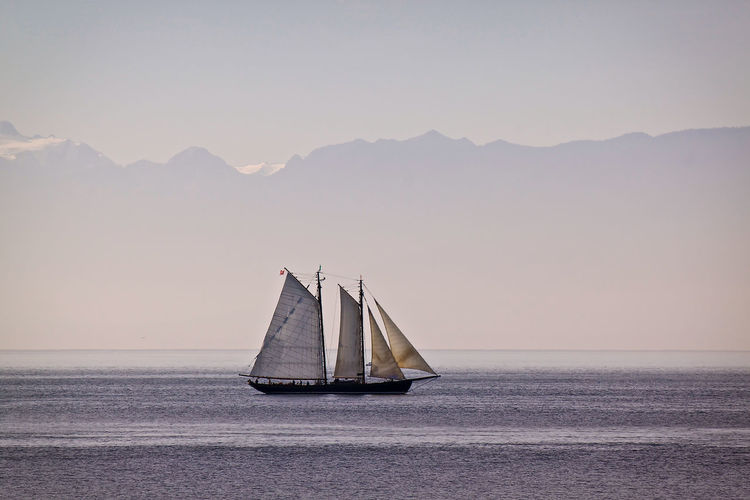 tall ship Victoria B.C. Beauty In Nature Live For The Story Clear Sky The Great Outdoors - 2017 EyeEm Awards Idyllic Journey Mode Of Transport Mountain Mountain Range Nature Nautical Vessel Non-urban Scene Outdoors Remote Sailboat Sailing Scenics Sea Seascape Sky Tranquil Scene Tranquility Transportation Water Waterfront Live For The Story