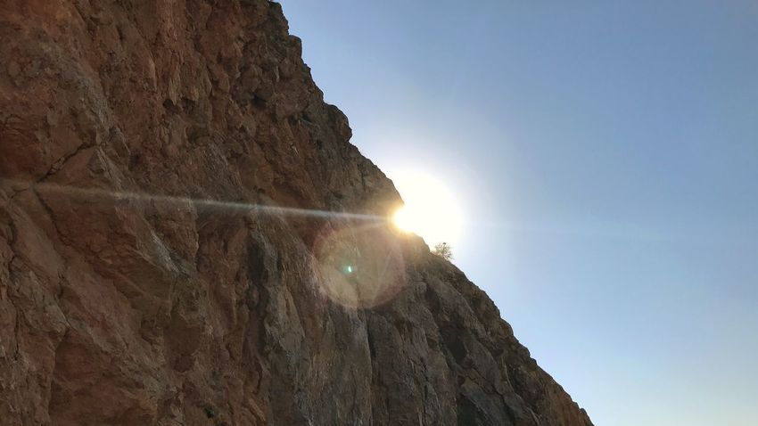 Sunshine Sky Lens Flare Low Angle View Sunlight Sun Nature Sunbeam Outdoors Architecture Solid Land Rock Scenics - Nature No People Building Exterior Beauty In Nature Tranquility Day Rock - Object Clear Sky