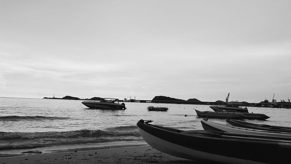 Nautical Vessel Sea Beach Water Transportation Moored Tranquility Outdoors Sand Nature No People Scenics Horizon Over Water Day Harbor Sky Beauty In Nature