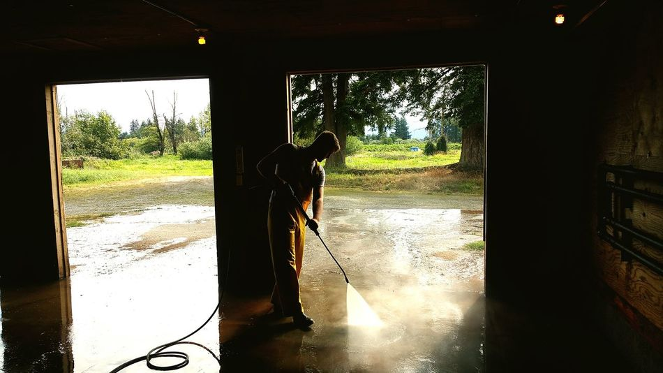 Another Day Another Dollar. Working Hard cleaning out a Barn on a Beautiful Day PRESSURE WASHING Working Man Farm Life