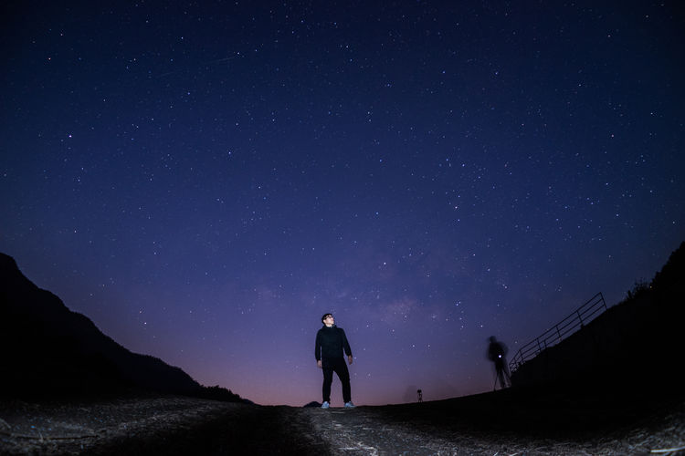 Where am i? Adult Adults Only Astronomy Beauty In Nature Galaxy Hiking Landscape Men Midnight Miles Away Milky Way Nature Night One Man Only One Person Only Men Outdoors People Rear View Silhouette Sky Space And Astronomy Star - Space Star Field Young Adult The Traveler - 2018 EyeEm Awards