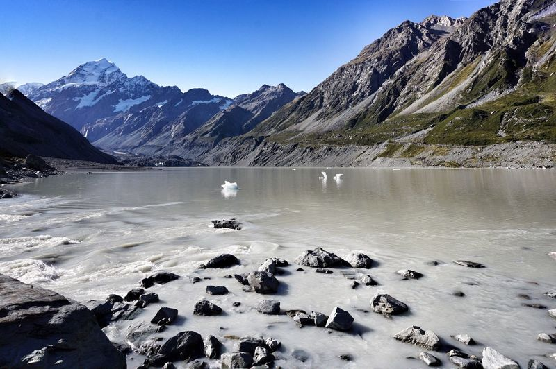 Lake with ice crystals against rocky mountains