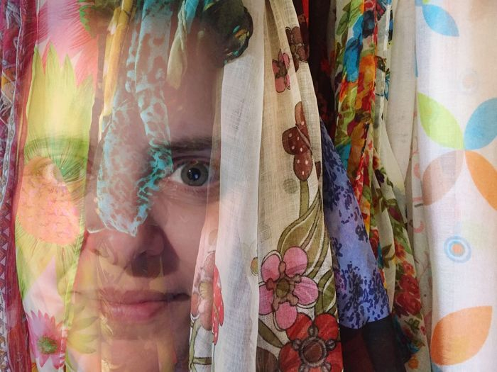Double Exposure Of Woman And Scarves