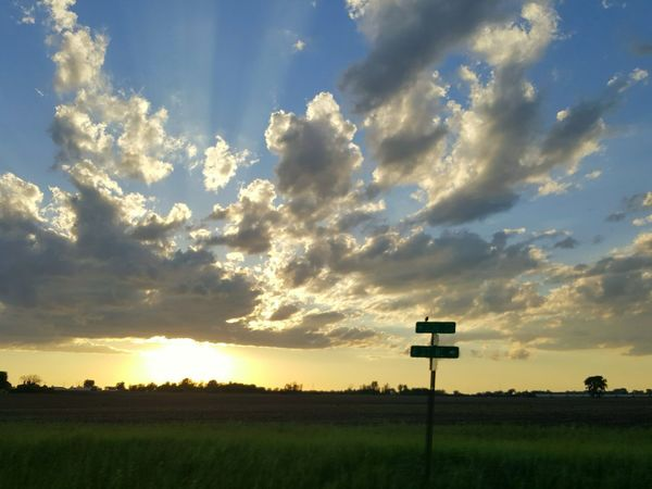 Sunset Cloud - Sky Outdoors Nature No People Landscape Sky Beauty In Nature Freshness Tree Grass