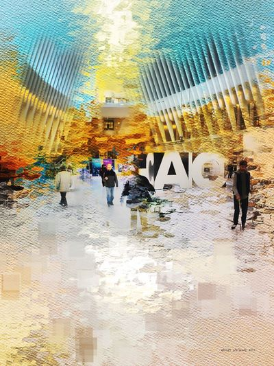 Artist Reflection Walking Travel Men People Adults Only Large Group Of People Real People Togetherness Day Business Full Length Adult Women Architecture Outdoors Sky Art ArtWork Canvas Colors Photooftheday Picoftheday NYC