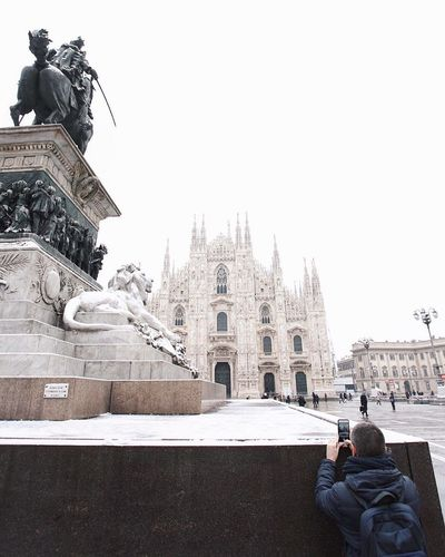 Snowing in Milan! Duomo Di Milano Duomo Architecture Travel Destinations Snow Building Exterior Travel Sculpture