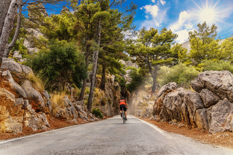 Bicycle Clouds Day Hiking Mallorca Mountain Nature One Person Outdoors People Race Road Rocky Sa Calobra Snakeroad Sunlight The Way Forward Torbogen Tree