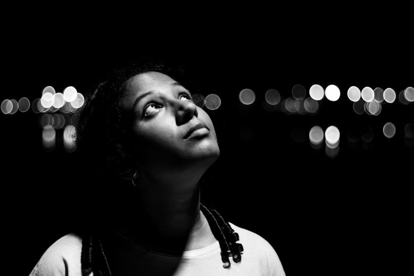 Black Background Blackandwhite Contemplation Dark Front View Hairstyle Headshot Human Face Illuminated Indoors  Leisure Activity Lifestyles Light Light - Natural Phenomenon Lighting Equipment Looking Looking Away Looking Up Night One Person Portrait Real People Women Young Adult Young Women HUAWEI Photo Award: After Dark