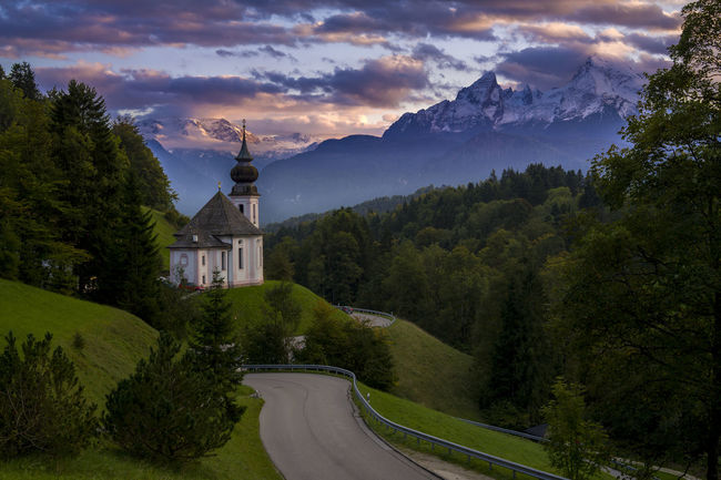 Bavaria Watzmann Alps Architecture Beauty In Nature Building Exterior Built Structure Cloud - Sky Day Garmisch-partenkirchen Maria Gern Mountain Nature No People Outdoors Place Of Worship Religion Road Scenics Sky Spirituality Tranquility Tree