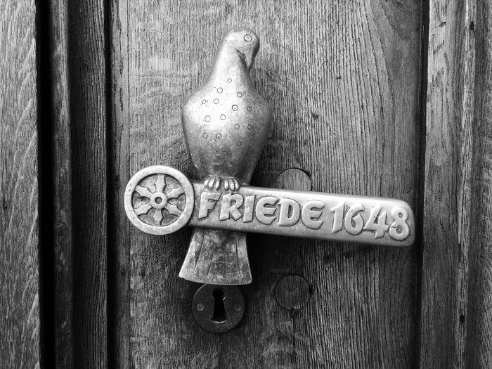 Close-Up Of Pigeon Sculpture Handle On Wooden Door