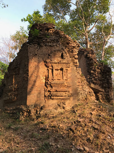 The pre-Angkorian temple ruins of Sambor Prei Kok near Kampong Thom in Central Cambodia Angkor Wat, Cambodia Historical Building Ruins Trees Ancient Civilization Archeological Site Cambodian Culture Temple - Building