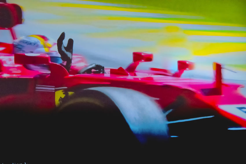 Brazilian Grand Prix 2017 Formula 1 Scuderia Ferrari Sebastian Vettel São Paulo Close-up Day Human Hand Men Mode Of Transport Outdoors People Race Real People Red Speed Transportation Victory Lap