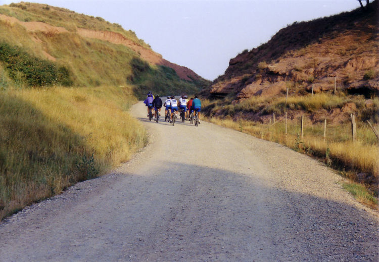 Early mornings. Bycicle Camino De Santiago Early Morning On The Move Outdoors Real People Rear View Road Santiago The Way Forward