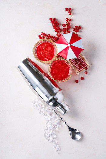 High angle view of fruits with shaker white background