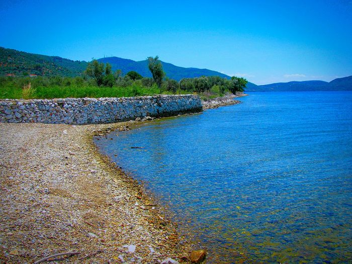 Beach Beach Photography Life Is A Beach Sea Seascape Seaside Seashore Stone Wall Pebble Beach Shades Of Blue Blue Sea Blues Tranquil Scene Tranquility Summer Views Summer Memories 🌄 Lesvos Island Greek Islands Gulf Kaloni Gulf Landscape Landscapes Gravel Beach Gravel