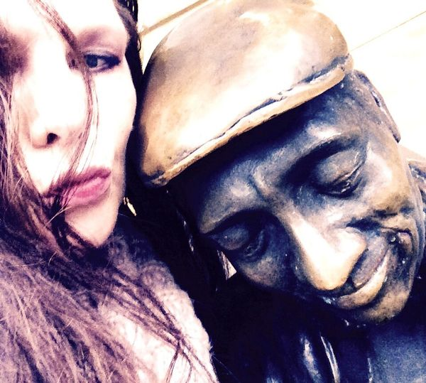 'I Kissed A Sculpture & I Liked It' Close-up Outdoors Portrait Domestic Animals Mammal Animal Themes Day InTheNow Collection Beautiful Day City Sculptures Urbex Eyeem Oslo2017 KariJosefiné✨