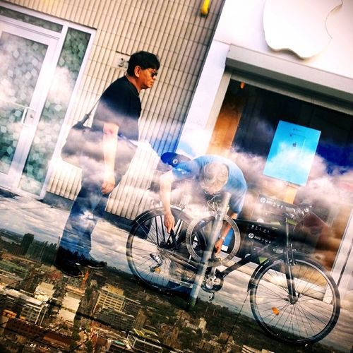 Make It Yourself Applestore Bicycle Parking Man Humorous Photoblend Imageblender Toronto Streetphotography