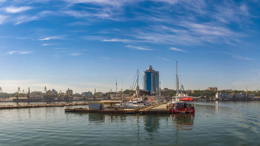 Coast of Odessa city, Ukraine. Panoramic view from the sea in a sunny summer day. Architecture Building Exterior Built Structure City Mode Of Transportation Nature Nautical Vessel No People Outdoors Sky Skyscraper Tower Transportation Water Waterfront