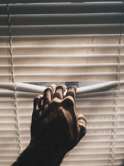 Cropped hand opening blinds at home
