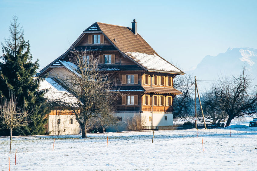 Architecture Building Exterior Built Structure Cold Temperature Day Knutwil Nature No People Outdoors Sky Snow Snowing Switzerland Tree Winter