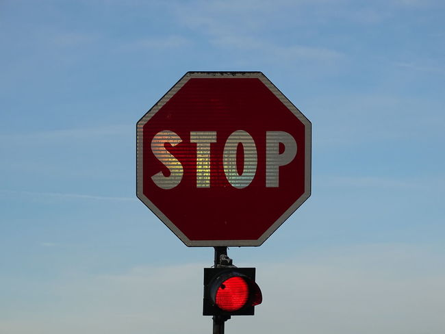 Blue Guidance Red Reflects Road Sign Sky Stop Sign Text
