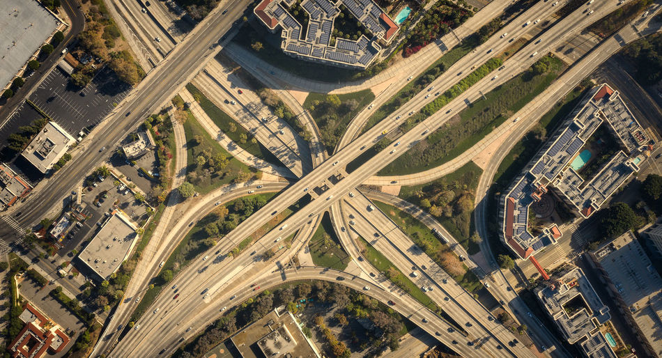 Aerial View Transportation City Road High Angle View Multiple Lane Highway No People Overpass Elevated Road Dronephotography Birds Eye View Freeway Highway