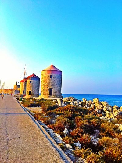 Colour Of Life Vibrant Vibrant Colors Rhodes Island Greece My Point Of View EyeEm Best Shots EyeEm Nature Lover Home Is Where The Art Is Enjoying The View Beach Sky And Clouds Sea And Sky Windmill Windmills Windmill Of The Day Photography HDR Crispy Colours Eyeemphoto