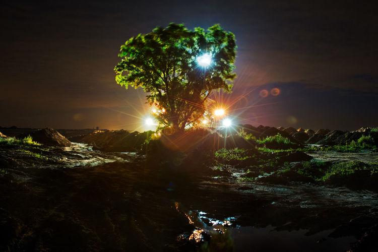 Alien Braunkohle Braunkohletagebau EyeEmNewHere Gatzweiler Industry Nacht Rheinbraun Tree UFO Bagger Baum Illuminated Nature No People Outdoors Scenics Tagebau Tree
