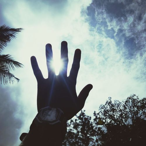 the mighty sun Human Hand Human Body Part Silhouette Human Finger One Person People One Man Only Palm Sky Day