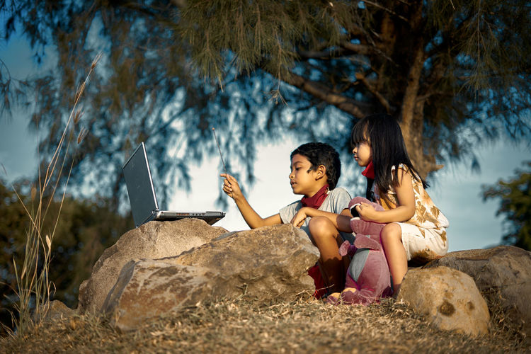 Siblings using laptop on rocks during sunny day