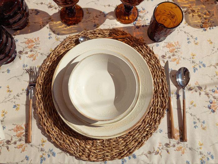 High angle view of empty plate on table