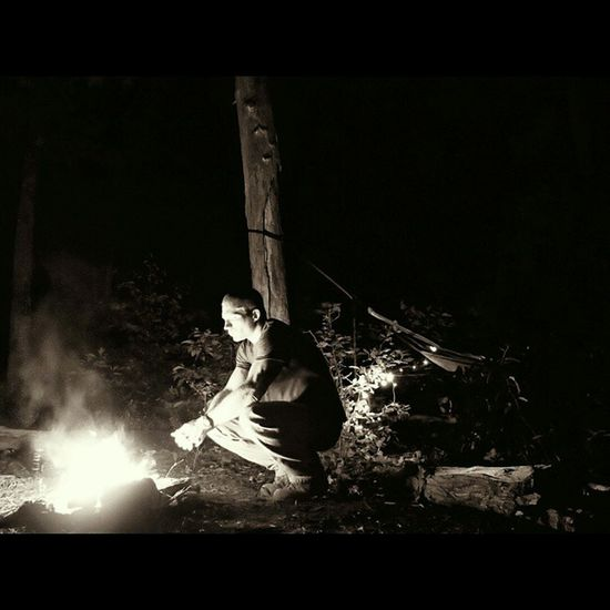 The first thing I think of when I look at this pic is of Arnie in Predator haha Rrg Fire Hammockcamping Redrivergorge