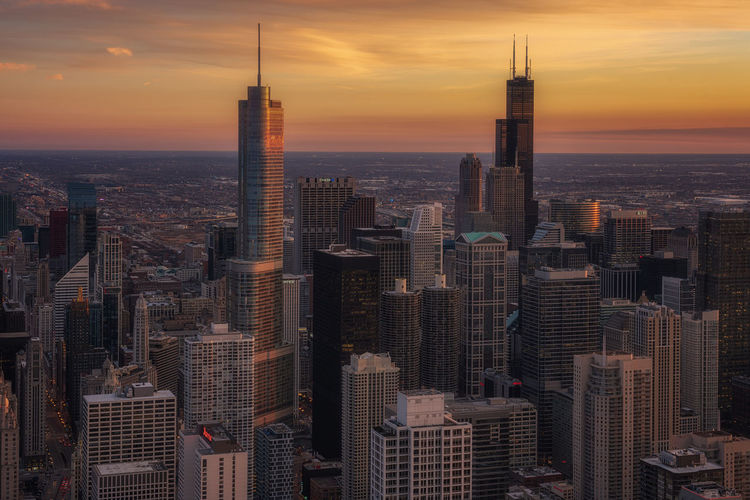 Chicago skyline aerial view Building Exterior Sunset Built Structure Architecture Building Sky City Skyscraper Office Building Exterior Cityscape Tall - High Tower Travel Destinations Urban Skyline Modern Downtown District Office Residential District Crowd Financial District  Chicago Illinois Chicago 360 Reinaroundtheglobe