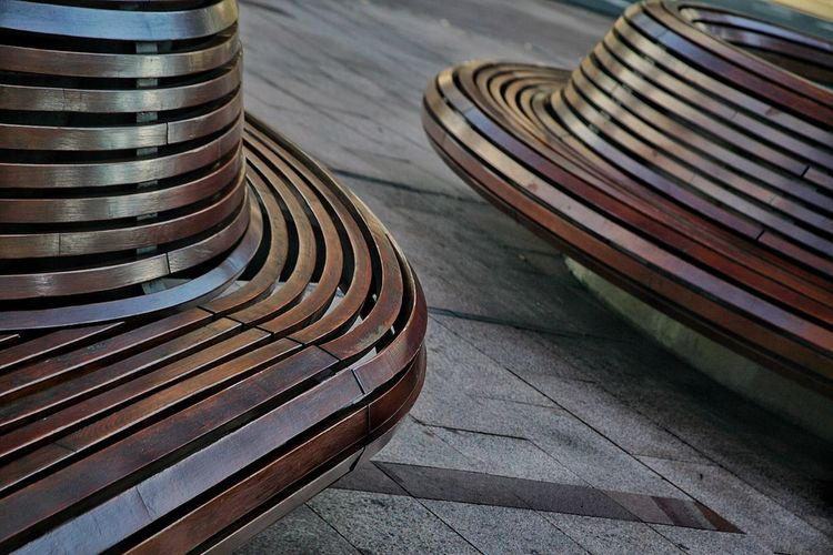 Benches Wooden Benches Bench Wooden Structure Organic Form Fresh On Eyeem  Rounded Modern Furnishings Outside Photography Wooden Texture Rounded Corner Flowing Organic Forms Two Is Better Than One