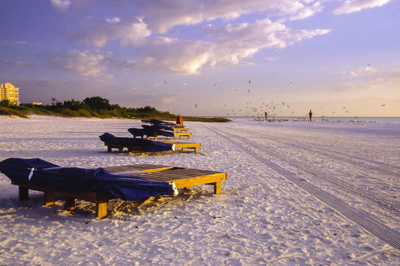 Lounge chairs at fort myers beach during winter