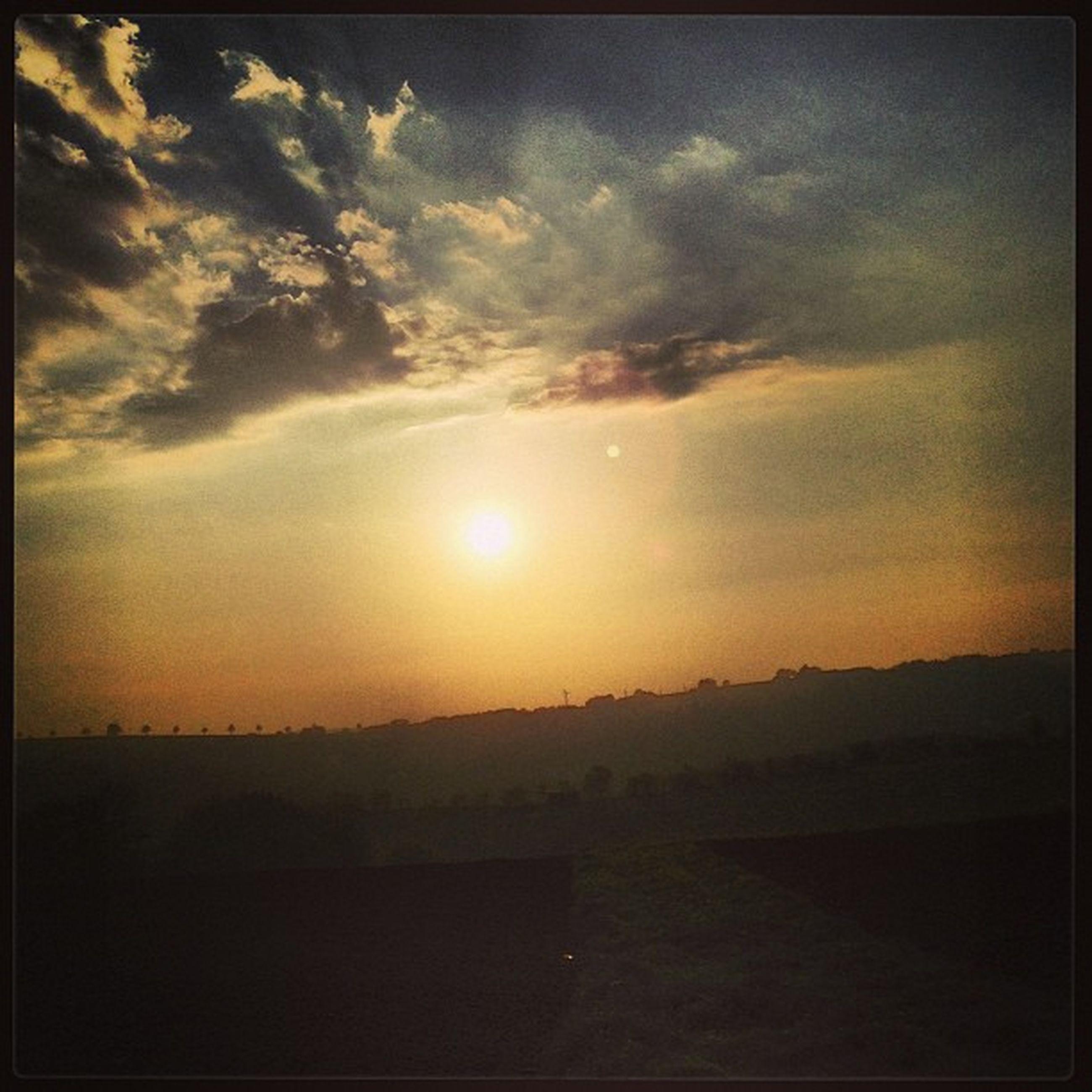sunset, sun, tranquil scene, scenics, tranquility, sky, beauty in nature, transfer print, landscape, sunlight, nature, sunbeam, cloud - sky, idyllic, orange color, silhouette, lens flare, auto post production filter, cloud, outdoors