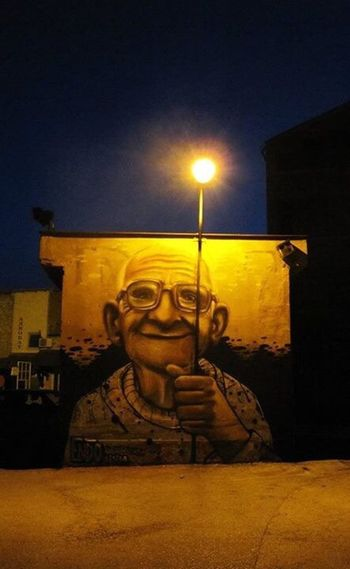 """""""Light is more important than the lantern, The poem more important than the notebook"""" Nizar Qabanni Graffiti Streetphotography Street Photography Street Streetart Drawing Lantern Light Light And Shadow Old Man Colors Night Quotes"""