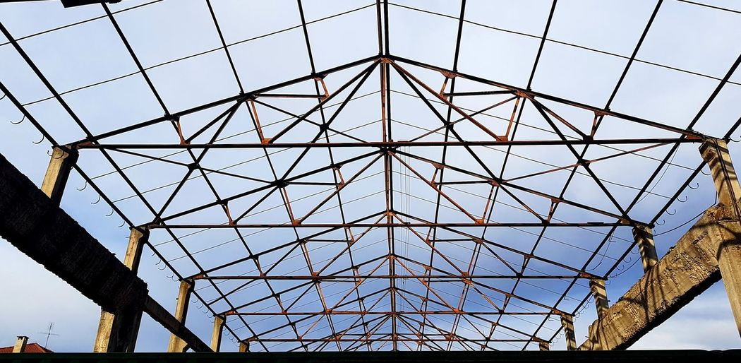 Old Factory Abandoned Factory Structures & Lines Dramatic Sky Looking Up Girder Pattern Steel Sky Architecture Built Structure Architectural Detail Architectural Feature Ceiling Interior Triangle Shape Hexagon Geometric Shape