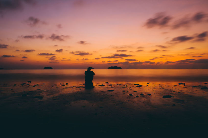 love nature Beach Beauty In Nature Full Length Horizon Over Water Idyllic Nature One Person Outdoors People Real People Salt - Mineral Sand Scenics Sea Silhouette Sky Standing Sunset Tranquil Scene Tranquility Water