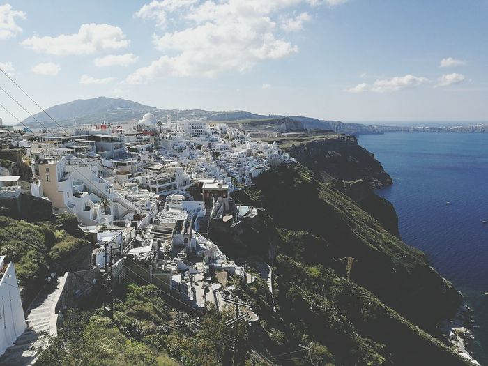 Fira Santorini Outdoors Day Architecture Nature Mountain Sky City Vacations Travel Landscape