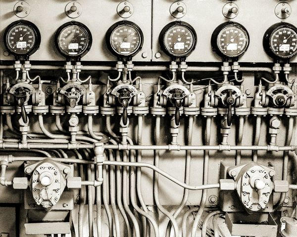 No People Indoors  Gauges Industrial Photography Manufacturing Equipment Ship Details World War 2 Close Up Technology Black And White Photography Dials Early Technology Warship Warship Technology