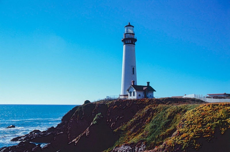 Pigeon Point Lighthouse 35mm Architecture Blue Built Structure California California Coast Clear Sky Coastline Direction Film Film Photography Filmisnotdead Guidance Lighthouse Naturelovers No People Outdoors Protection Roadtrip Santa Cruz Sea Seaside Showcase: January Tower Voyage
