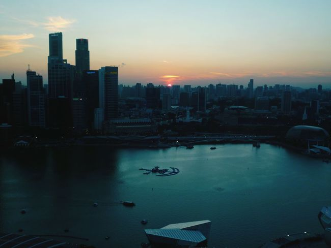 Sunset from the Marina Bay Sands Singapore From My Point Of View Singaporeslinging Marinabaysands Marina Bay Sands Sunset Sunset_collection Check This Out City Cityscape